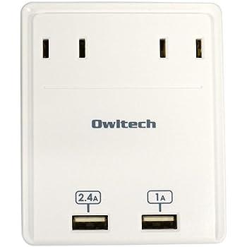 オウルテック マルチACアダプタ USBポート2口+コンセント2口 1年保証 スマートフォン タブレットPC対応 ホワイト