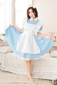 アリス メイド コスプレ 衣装 (カチューシャ付+猫柄タオル付)  清楚 かわいい (水色)