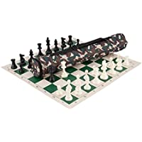 Quiver Chess Set Combination - Single Weighted - Desert Camo Bag / Green Board by