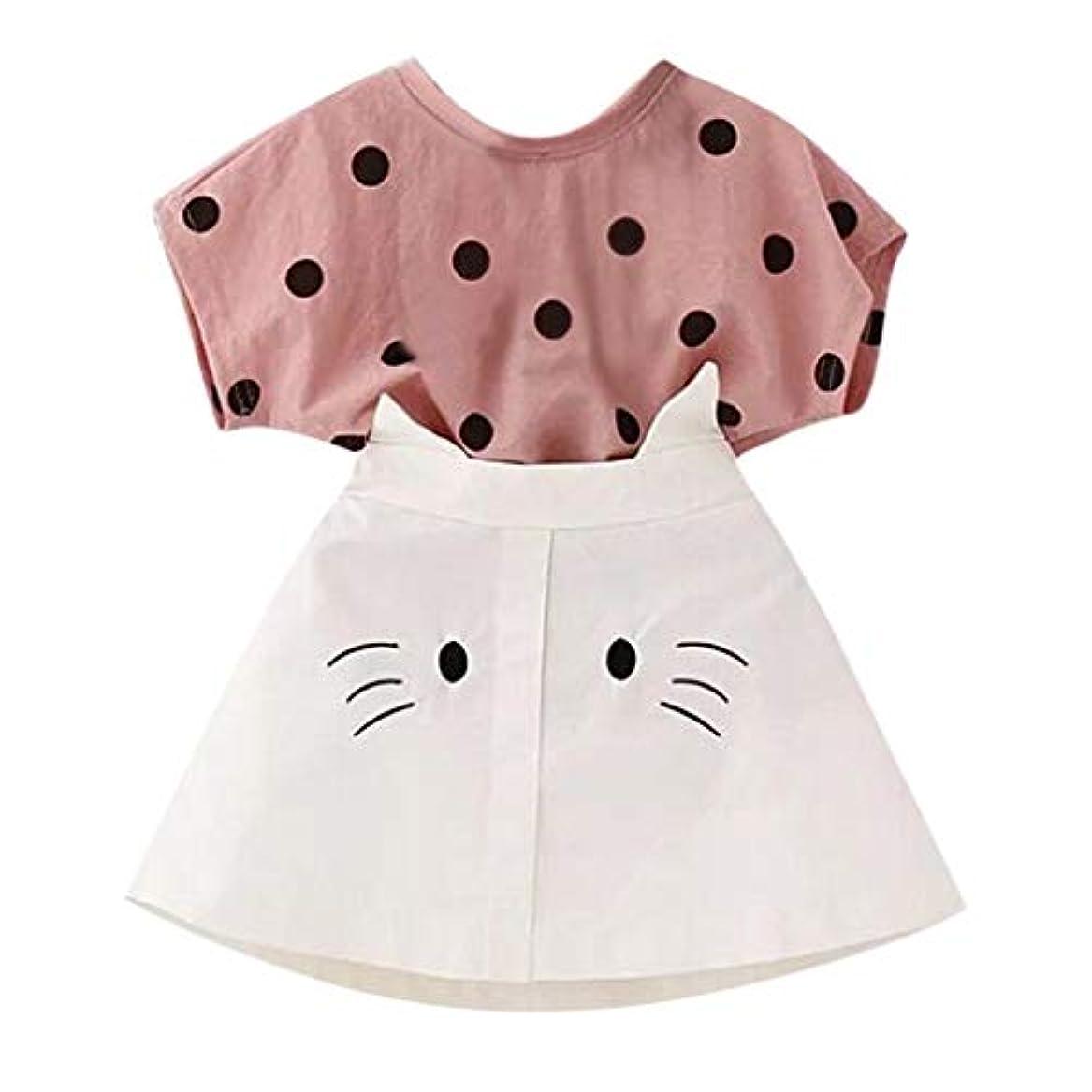 分まぶしさ証書Sofitoa 幼児子供ベビー服服装服ドットプリントTシャツ+猫刺繍スカートセット