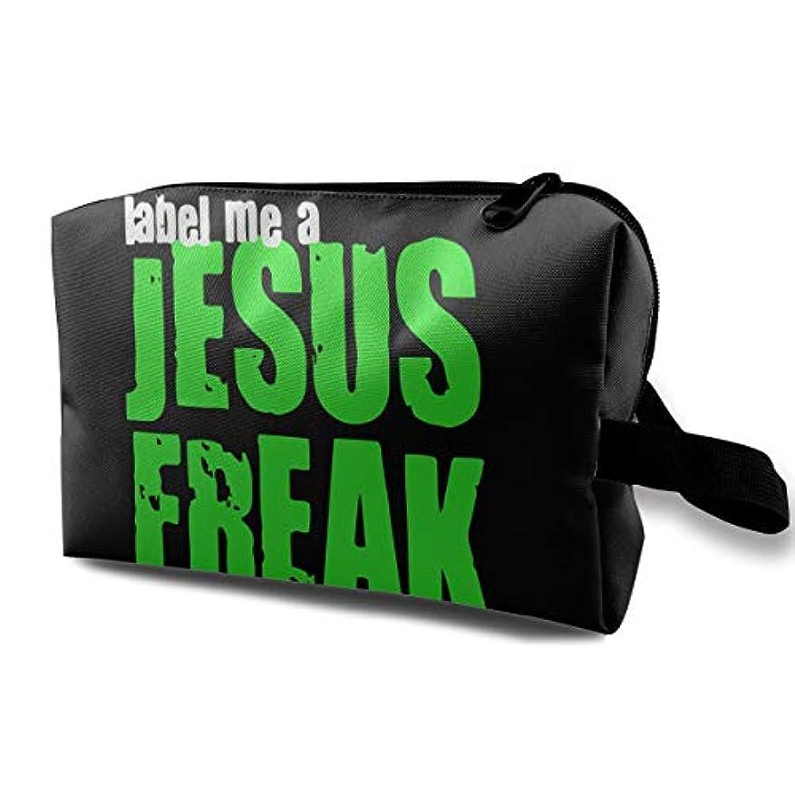 ナース弁護テーマLabel Me A Jesus Freak Logo メイクポーチ 化粧ポーチ 機能的 大容量 メイクブラシバッグ 収納バッグ トラベルバッグ メイクブラシ 化粧道具 洗面用具入れ 防水 小物入れ 旅行 出張 耐久性