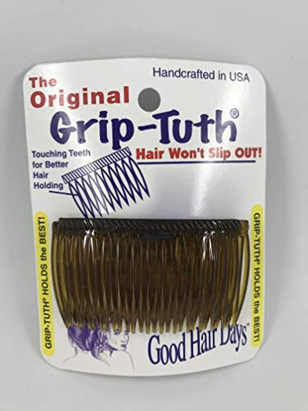 緊急主流薬用Good Hair Days Grip Tuth Combs 40405 Set of 2, Tortoise Shell Color 2 3/4
