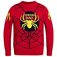 YIYIXIN Children's Round Neck Long Sleeve Spider-Man Jacquard Pattern Pullover Sweater top