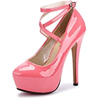 OCHENTA Women's Ankle Strap Platform Pump Party Dress High Heel