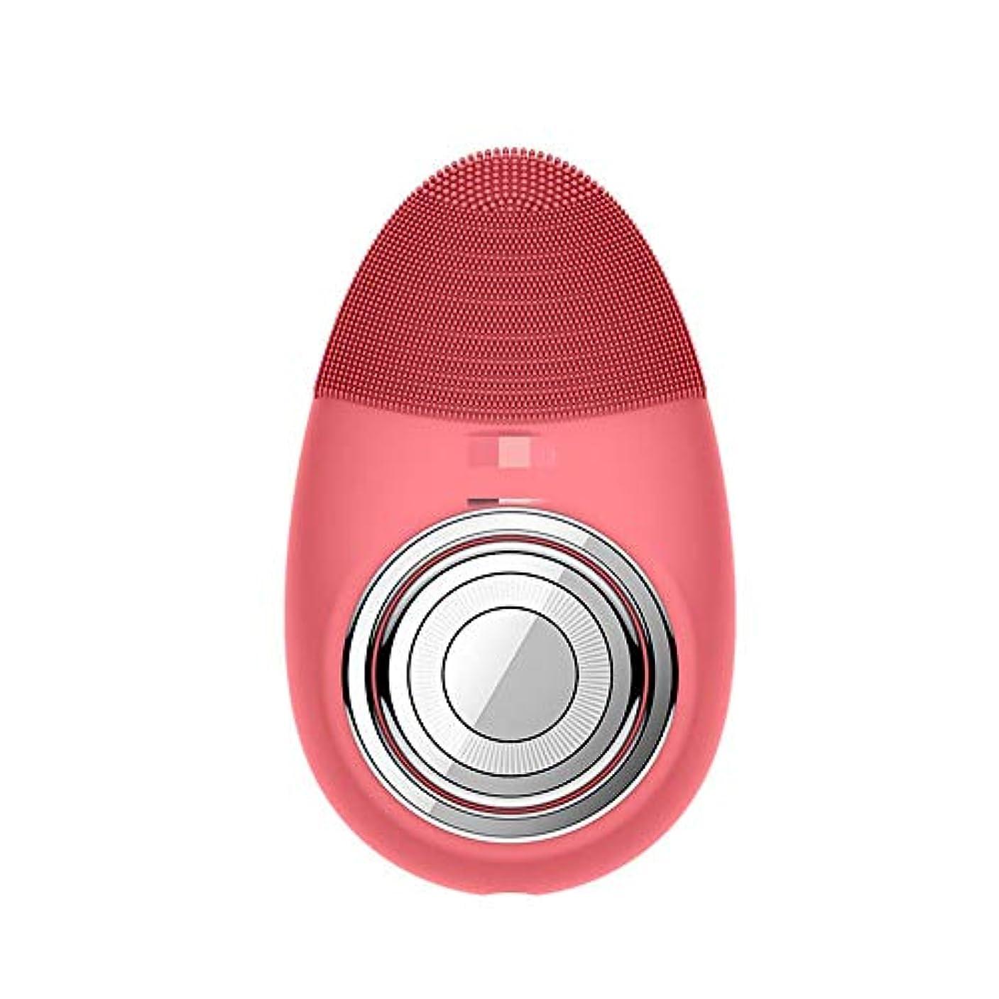 ブラシ教えコンペChaopeng 多機能電気恒温シリコーンクレンジング楽器赤灯肌清潔毛穴クリーナー輸入機器美容機器 (Color : Red)