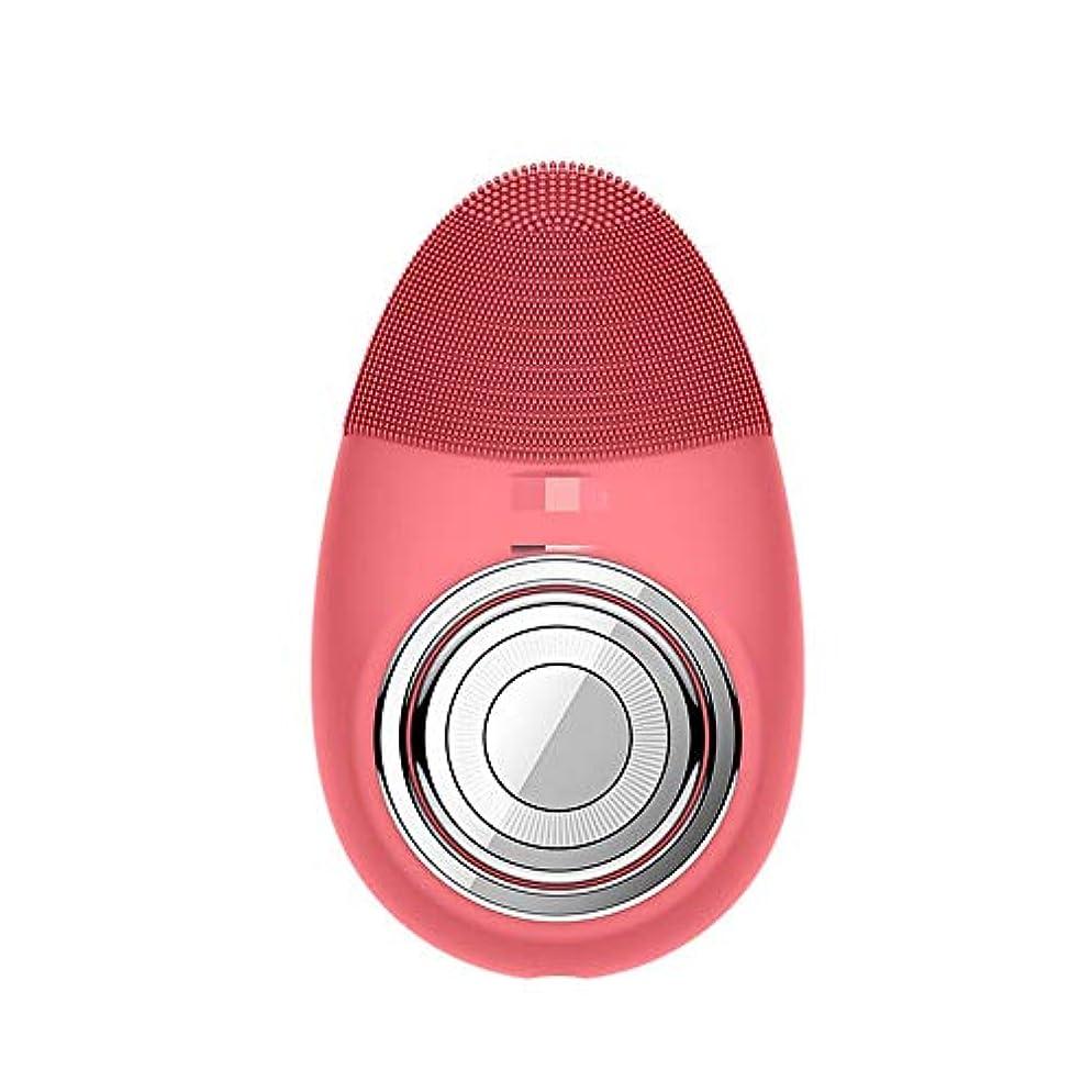撃退するピンク銛Chaopeng 多機能電気恒温シリコーンクレンジング楽器赤灯肌清潔毛穴クリーナー輸入機器美容機器 (Color : Red)