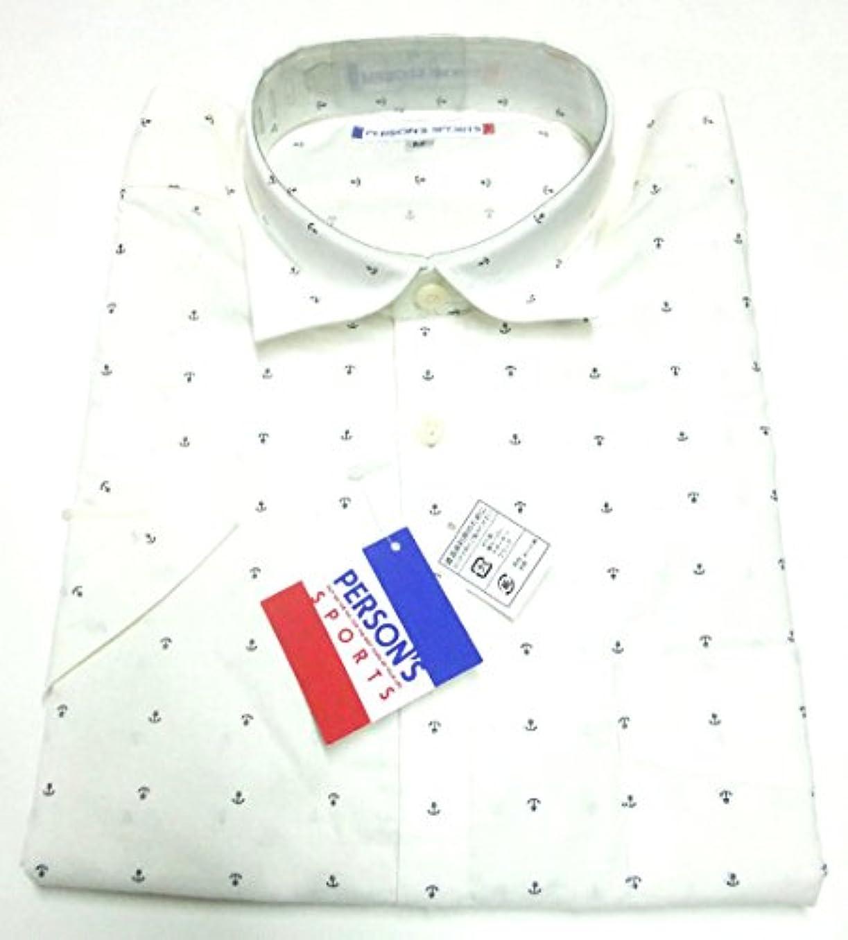 コンデンサー視線病弱紳士ブランドシャツ【PERSON'S】パーソンズ 半袖 M 錨柄 白 123P