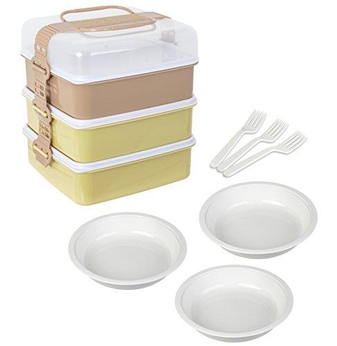 サンコープラスチック 弁当箱 ファミリーサイズ リオパック L型 3段 取り皿3枚付き アースベージュ 116987