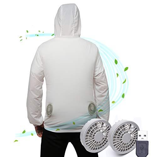 空調服 ファン(2個)がついたラッシュガード パーカー 吸湿速乾 日焼け止め 自電車 釣り USBゲーブル 熱中症対策 メンズ レディース (ホワイト, XXL)