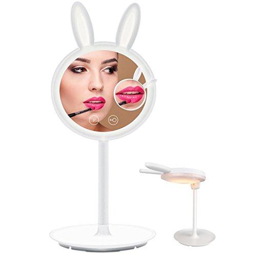 YINUO LIGHT LED化粧鏡 スタンドライト 7倍拡大鏡付き 180°自由角度調整 USB充電 タッチセンサー 卓上ミラー 可愛いウサギ型