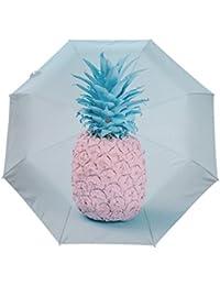 KASAMOパイナップル折りたたみ傘 子供 キャラクター ワンタッチ自動開閉 耐強風 折りたたみ傘 レディース 晴雨兼用 軽量 紫外線傘 UVカット