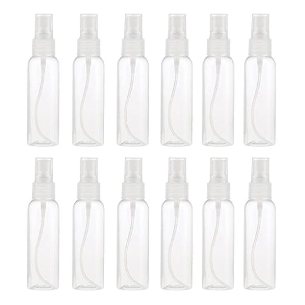 酔っ払い両方リーお買得 プラスチック 分装瓶 スプレーボトル ミストアトマイザー 液体香水 詰め替え 旅行用 60ml 12PCS - クリア