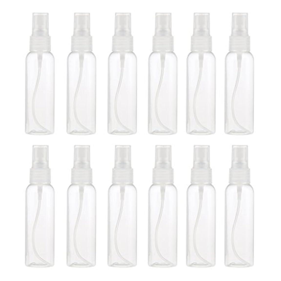 発送柱同僚お買得 プラスチック 分装瓶 スプレーボトル ミストアトマイザー 液体香水 詰め替え 旅行用 60ml 12PCS - クリア