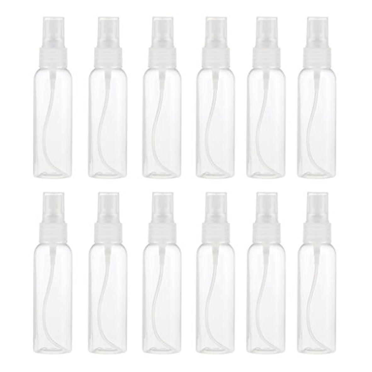 鈍い機械的人種お買得 プラスチック 分装瓶 スプレーボトル ミストアトマイザー 液体香水 詰め替え 旅行用 60ml 12PCS - クリア
