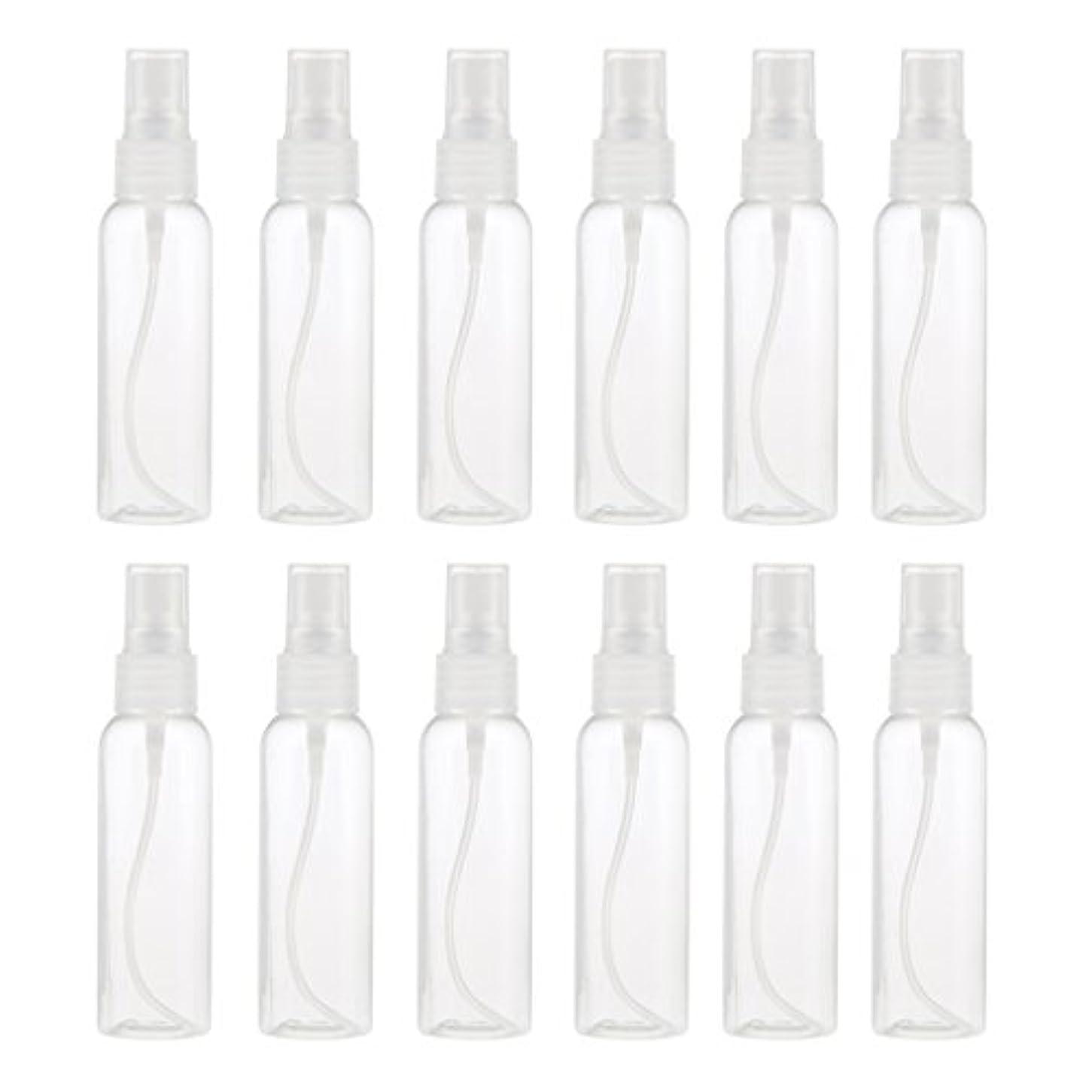 トランザクションハック電気のお買得 プラスチック 分装瓶 スプレーボトル ミストアトマイザー 液体香水 詰め替え 旅行用 60ml 12PCS - クリア