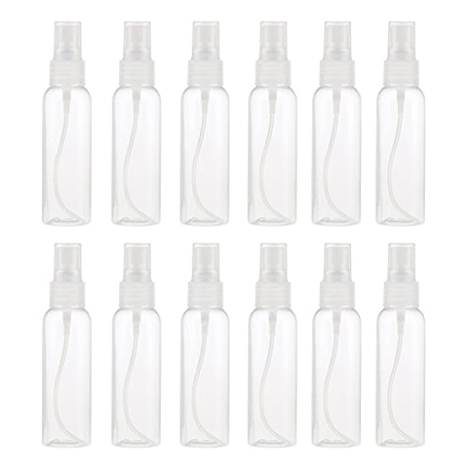 溝知性ライブお買得 プラスチック 分装瓶 スプレーボトル ミストアトマイザー 液体香水 詰め替え 旅行用 60ml 12PCS - クリア