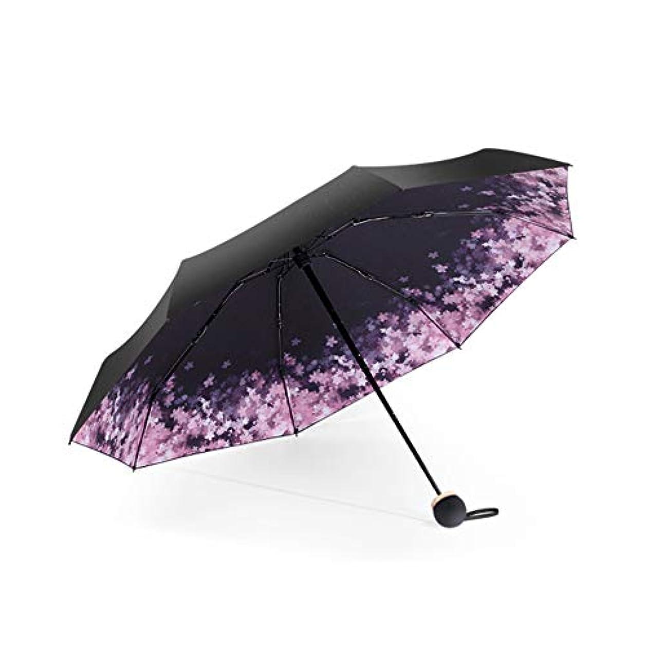 朝謝罪増強折りたたみ日傘 軽量 8本骨 UVカット 折り畳み傘 手動開閉 桜柄 おしゃれ 晴雨兼用 傘カバー付