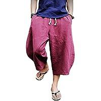 FASKUNOIE Men's Patchwork Shorts Baggy Capri Pants Loose Fit Linen Casual Pants with Pockets