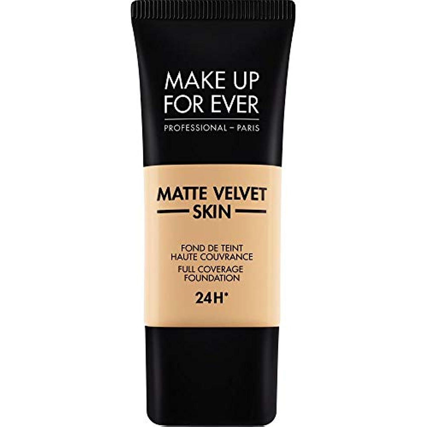 砲撃胆嚢警官[MAKE UP FOR EVER ] 暗い砂 - これまでマットベルベットの皮膚のフルカバレッジ基礎30ミリリットルのY335を補います - MAKE UP FOR EVER Matte Velvet Skin Full...
