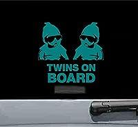 Twins On Board Carlosビニールデカールステッカー( Teal )