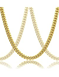 Luxury 18k Gold Plated Cuban Link Chain Necklace For Men + Gift Case