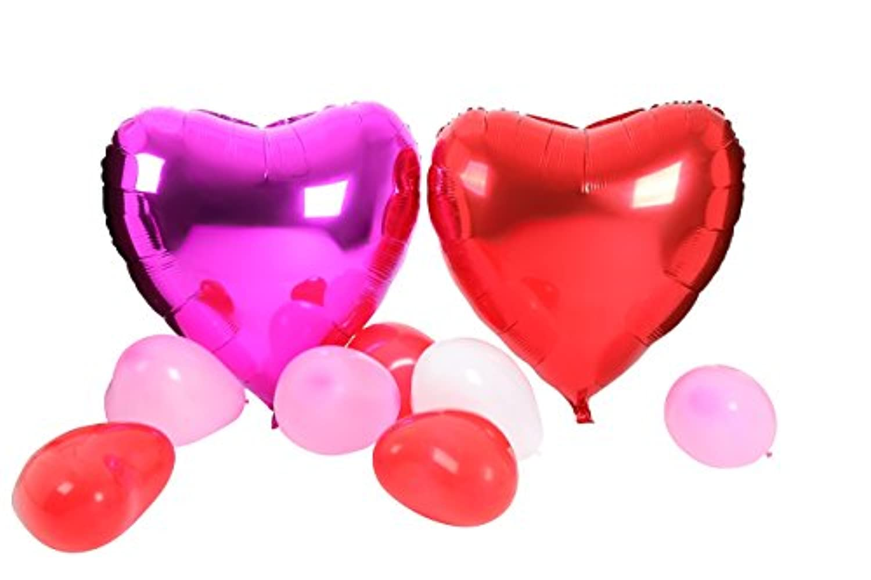 【BA107】ハート型風船3点セット ハート型ゴム風船50個(3色)&特大アルミ風船4個(2色)+空気入れ クリスマス 結婚式 パーティー バレンタイン等に!