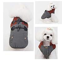 暖かいスプライスホーンバックルベスト服小型犬用ペッ猫のコートジャケットコスチュームアパレルジャケットスーツ秋冬,gray,M