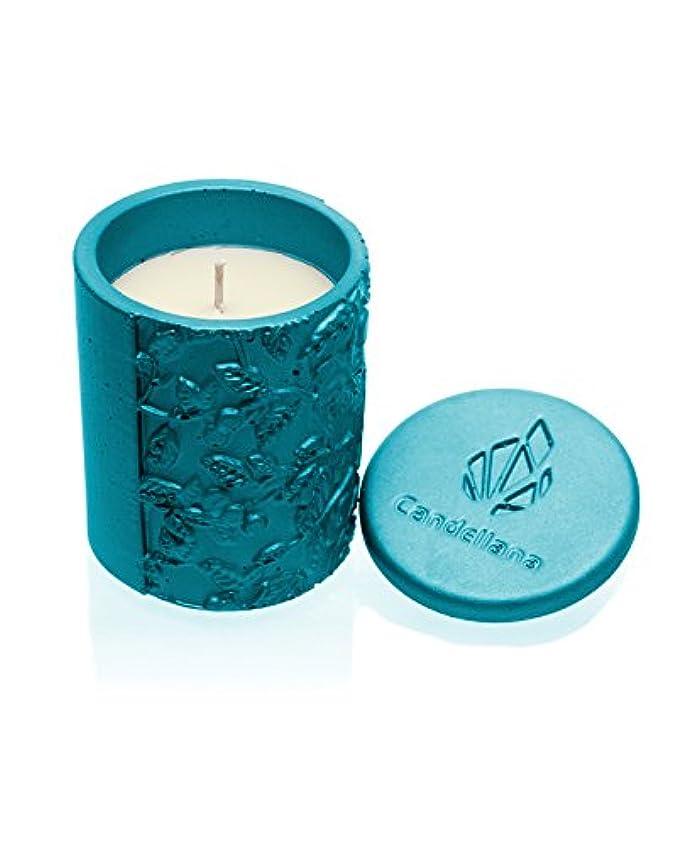 アクション詳細な連続的Candellana Candles キャンドルフォート コンクリートキャンドル - マリンブルー 静けさ 香り: レモングラス