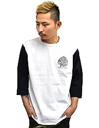 4832 BADASS バダス 7分袖Tシャツ INDIAN BBTEE ベースボールTシャツホワイト×ブラック