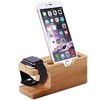 Urvoix Apple Watch / iPhone 充電スタンド、竹製 デスクトップ 充電器ベース ドック