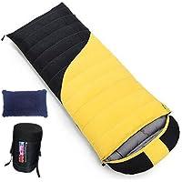 寝袋 封筒型 1000/1800g高級ダウン詰め 軽量 ふわふわ 2カラー配色 圧縮ケース付き アウトドア 室内兼用 登山 防災用 極限耐寒 羽毛シュラフ