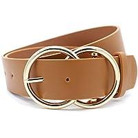 """Women's Fashion 1 1/2"""" Mid Width Faux Leather Double Rings Buckle Belt"""