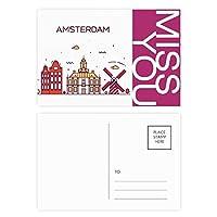 アムステルダムフラットランドマーク ポストカードセットサンクスカード郵送側20個ミス