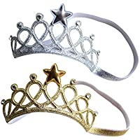 Toyvian 2pcs Baby Tiara Crown Elastic Star Hairband Birthday Headdress Soft Headwrap Photo Prop for Children Baby Shower Hair Accessories (Golden Silver)