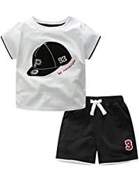 (マクスリンディー)MaxLindy キッズ 子供服 野球帽子柄 男の子 女の子 半袖Tシャツ 半ズボン 綿100% 普段着 旅行 出産祝い 1-5歳 品質認証