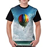 DaXIBA Hot Air Balloon メンズ カジュアルtシャツ ファッション Shirt 3Dプリント シャツ カスタマイズ 日常着用 短袖