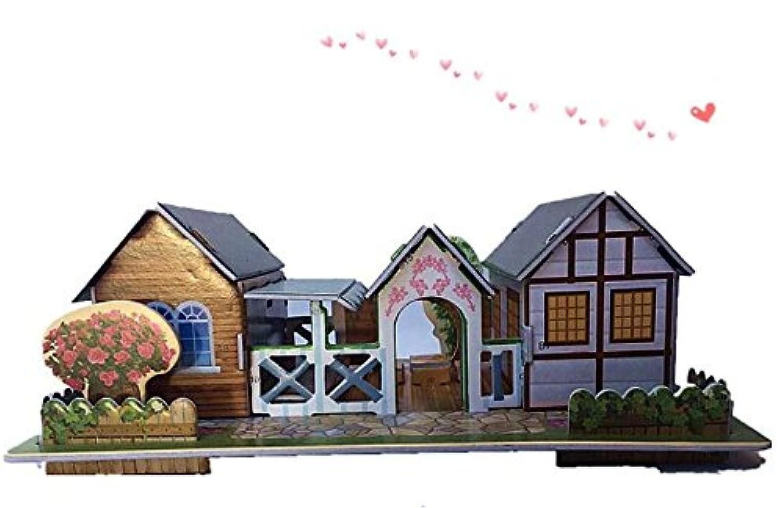 HuaQingPiJu-JP 創造的な教育3Dパズルアーリーラーニングシェイプカラー動物玩具子供のための素晴らしいギフト(ファームシャレー)
