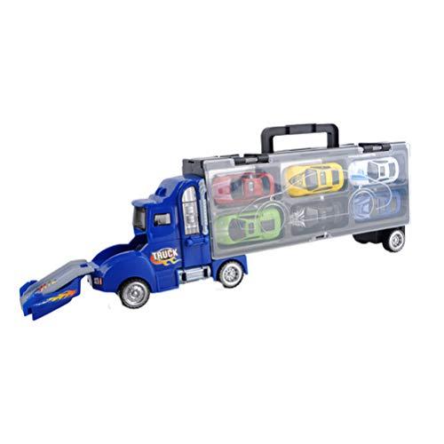 Toyvian おもちゃトラック車6合金セダン車カタパルトファイト貨物トラックモデル車ポータブルストレージボックスキッズボーイズ(ブリエ)