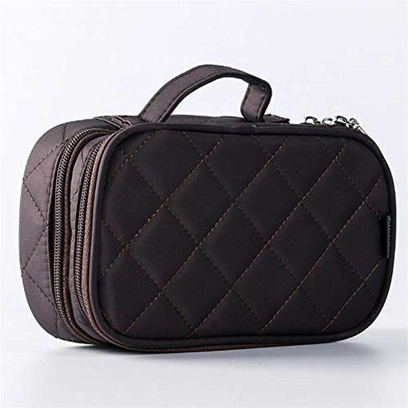 産地フラップ過度に特大スペース収納ビューティーボックス 旅行化粧品の箱、化粧品の箱およびコンパートメントが付いている専門の化粧品の化粧品袋の収納箱、透明で透明な網。 化粧品化粧台 (色 : 褐色)