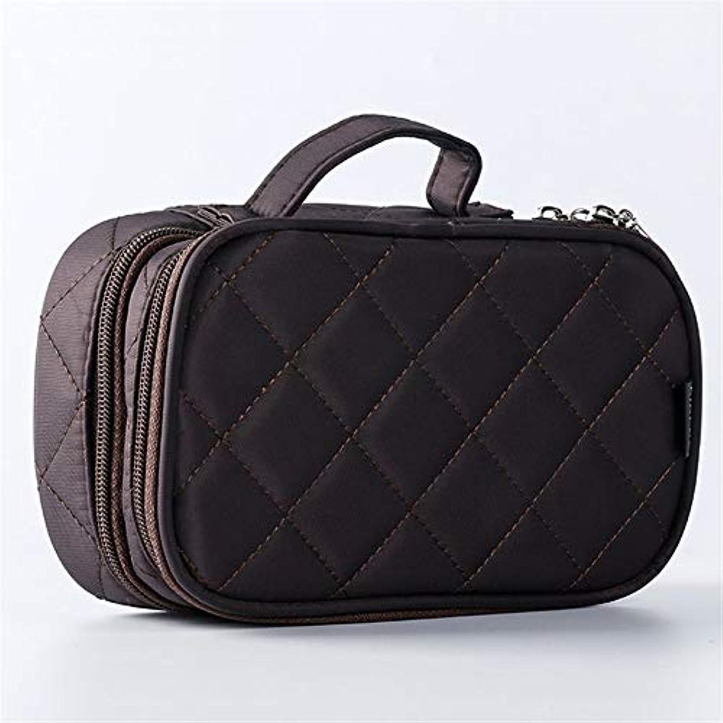 顕著警察署付属品特大スペース収納ビューティーボックス 旅行化粧品の箱、化粧品の箱およびコンパートメントが付いている専門の化粧品の化粧品袋の収納箱、透明で透明な網。 化粧品化粧台 (色 : 褐色)