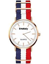 Smalody 腕時計 レディース 薄型 ナイロンベルト クオーツ アナログ ウオッチ 時計 男女兼用 (ホワイト)