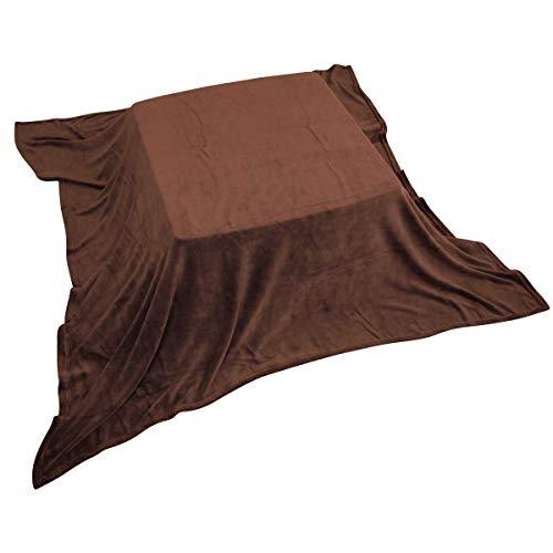 こたつ中掛け毛布 マイクロファイバー素材 正方形185×185cm マルチカバー こたつ ブランケット 毛布 こたつカバー こたつ上掛け (ブラウン)