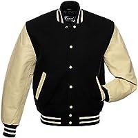 GREY INT Varsity Jacket Men's Baseball Jacket Wool & Genuine Leather Jacket Men