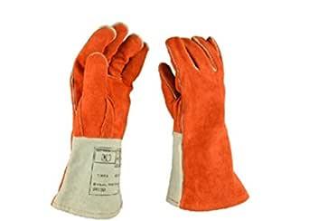 耐熱 ロング 革手袋 溶接 防火 アウトドア グリル オーブン Lサイズ