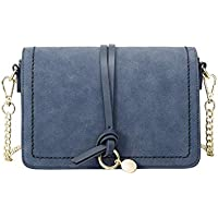 Women's Chain Bag 2018 Autumn and Winter New Wild Leather Shoulder Messenger Bag (Color : Blue, Size : 22 * 15 * 8.5CM)