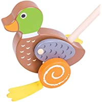Bigjigs Toys木製Duck Push Along – Walkingおもちゃfor Babies and Toddlers