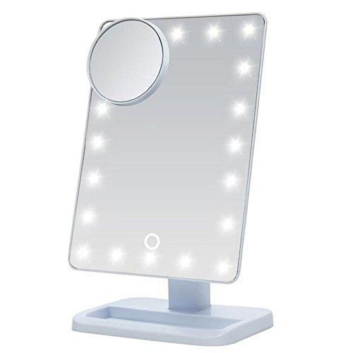 【Cadrim】 化粧鏡 LED化粧鏡 スタンド化粧鏡 スタンドミラー メイクミラー 卓上ミラー 鏡 お姫様ミラー 10倍拡大鏡+20個LEDライト付き タッチパネル タッチセンサー 調光可能 180度回転 (ワイト(White))