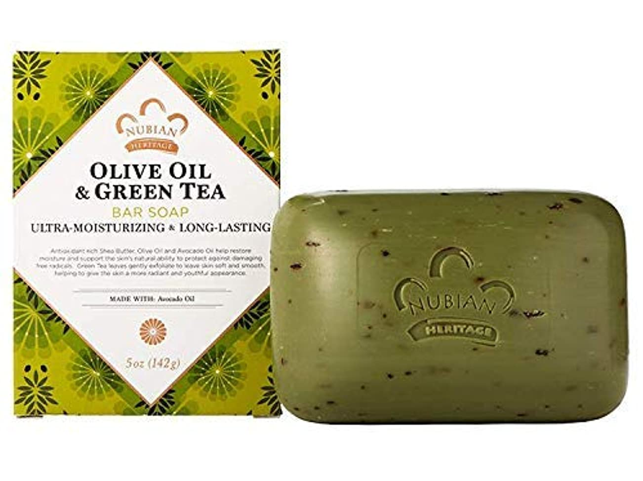 列車許すずんぐりした海外直送品Nubian Heritage Bar Soap, Olive and Green Tea 5 OZ (Pack of 6)