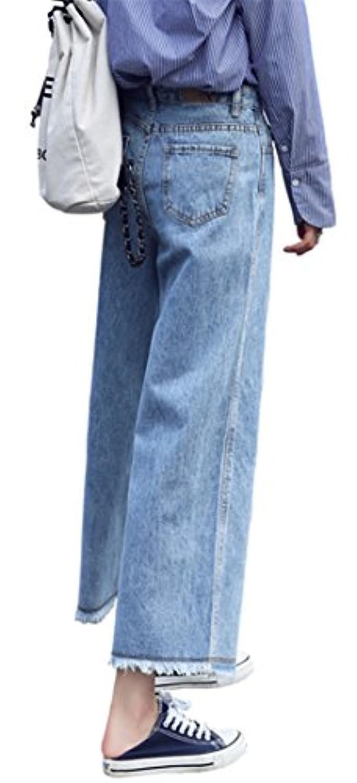 ZUOMAレディースジーンズ ワイドパンツ デニムパンツ 九分丈ズボン ハイウエスト ストレッチ ゆったり カジュアル 舌出し裾