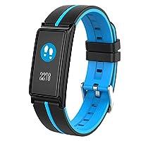 GLJJQMY カラースクリーンスマートブレスレットリアルタイム心拍数血圧血液酸素の監視スポーツ健康スマートブレスレット、5色46.2 x 21 x 10.3ミリメートルオプション スマートリストバンド (色 : 青)